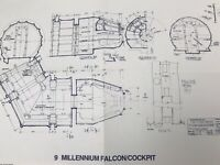 1977 RARE STAR WARS RETURN OF JEDI MILLENNIUM FALCON COCKPIT Blueprint to SCALE
