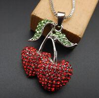 Betsey Johnson Red Crystal Rhinestone Cherry Pendant Sweater Necklace
