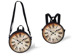 Retro Clock Watch Women's Shoulder Bag Novelty Round Handbag Purse Kids Backpack