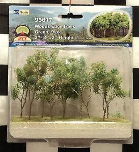 "JTT SCENERY 95617 WOODS EDGE TREES - GREEN  3"" - 3 1/2""  HO-SCALE  9 PER PACK"