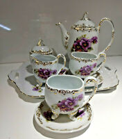 Oval Porcelain Teapot Set w/Tray, Pansy with Gold Gilt, Unbranded