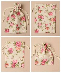 Linen Fabric Rose Floral Drawstring Gift Bag * 2 Sizes 3 Quantities Flower Print