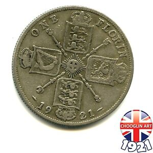A 1921 British Silver (.500 fine) GEORGE V FLORIN 2/- coin         (Ref:013/14)