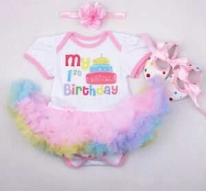 Baby Girl 1st First Birthday Tutu OUTFIT shoes Dress Romper cake smash 10-12m