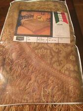 Vintage Super Heavy Woven Italian Bedspread Medallion Damask New-gold 96x110 Ful