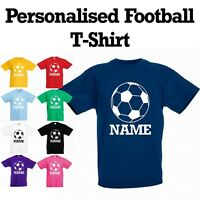 *NEW Personalised Boys Girls Kids Football Soccer T-Shirt With Name Custom Print