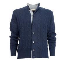CASHMERE COMPANY Cardigan Trecce 1210 Blu in Cashmere e Lana Made in Italy