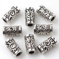 25/50PCS Tibetan Silver Floral Long Tube Shape Spacer Beads Connectors 7x3mm