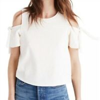 Madewell Style G3027 Cream Cotton Blend Skylark Cold Shoulder Top Women's XS