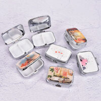 Square Metal Folding pill case Medicine Organizer Pill Box Storage Container Fz