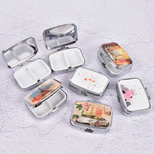 Square Metal Folding pill case Medicine Organizer Pill Box Storage Container H#