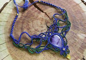 Macrame Necklace Jewelry Cabochon Amethyst Stone Handmade Brass Beads Boho