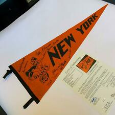 Willie Mays Monte Irvin New York Giants HOF Legends Signed Pennant Flag JSA COA