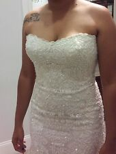 STEFAN JOLIE, $2000 Full Beaded Ivory Strapless Sample Wedding Gown