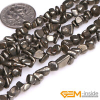 Natural Silver Gray Pyrite Gemstone Freeform Nugget Chips Jewelry Making Beads