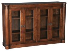 "60"" W Renato Cabinet Hand Crafted Solid Walnut Glass Panel Doors 2 Key Locks"