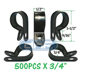 """500 PACK 3/4"""" BLACK NYLON R-TYPE CABLE CLAMP UV WEATHER RESISTANT - SHIPS TODAY!"""