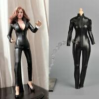 "1/6 Scale Leather Jumpsuit Lingerie Boots Female Clothes Set F Phicen Figure 12"""