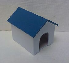Dollhouse Miniatures Handcrafted Wood Dog House painted white - blue roof 1:12