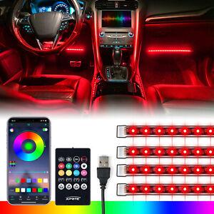 "4Pcs 12.8""Inch RGB LED Car Interior Light Strips Bluetooth APP & IR Remote & USB"