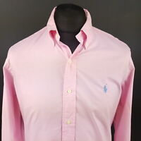 Polo Ralph Lauren Mens Shirt 15.5 39 (MEDIUM) Long Sleeve Pink Custom Fit Check