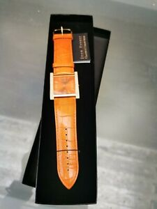 NEW IN BOX JOAN RIVERS CLASSIC COLLECTION ORANGE FAUX SNAKESKIN DIAMANTE WATCH