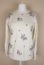 Women's Tulchan cream pure cotton jumper hand embroidered floral detail Size M