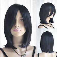 Long Bang Black Medium Straight Cosplay Hair Wig 1B