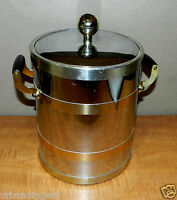 5447/ Vintage Mid Century Chrome & Brass Bar ICE BUCKET ~ Antqiue Retro Barware