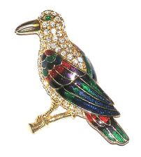 Enamel Rs Giant Bird /Brooch/Pin Gt Rhinestones &