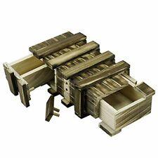 Locisne Caja de regalo de madera mágica 2 compartimentos de almacenamiento extr