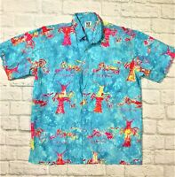 Rum Reggae Bold Lobster Print Artwork CAMP SHIRT Men's Medium
