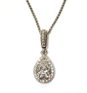 """GIA 14k white gold .93ct pear diamond halo pendant necklace 2.4g 18"""""""