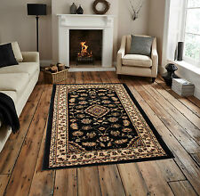 "Very Large Classic Traditional Black Rug 200 x 290 cm (6'7""x9'6"") Quality Carpet"