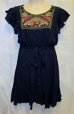 NWTSpense Woman 18W 2x Dress Marine Blue Embroidered Belt BoHo Fluttery Sun