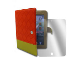CASE COVER+SCREEN PROTECTOR FOLD PU LEATHER ORANGE/YELLOW IPAD 2 2ND 3RD 4TH GEN