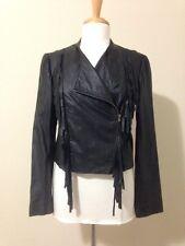 Ella Moss $695 Black Leather Fringe Crop Western Motorcycle Jacket Size M
