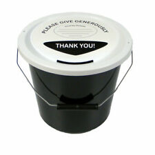 Charity Fundraising Money Collection Bucket With Lid Label and Ties - Black