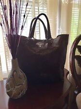 PRADA 100% AUTHENTIC LARGE BROWN SHINY LEATHER TOTE