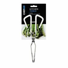 Chef Aid Chrome Kitchen Cooking Food Tongs - Ideal for Grills BBQ Salads