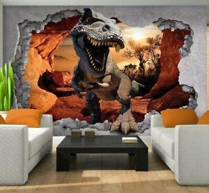 LOCH IN DER WAND 3D Vlies Fototapete Kinderzimmer Dinosaurier Dino + KLEISTER 94