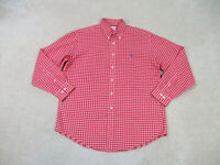 Brooks Brothers Shirt Adult Large Red White Plaid Button Up Long Sleeve Mens B36