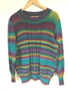 Multi colour striped hand knitted jumper size 14-16