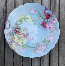 """Bavaria Plate Hand Painted Scalloped Gold Trimmed Edge Tea Roses 12.5"""""""