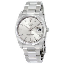 Rolex Date Silver Index Dial Domed Bezel Mens Watch 115200SSO