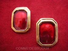 """Boucles d'oreille """"Rectangle"""" émaillé N° 1 Rouge 70's - Bijoux Vintage Sphinx"""