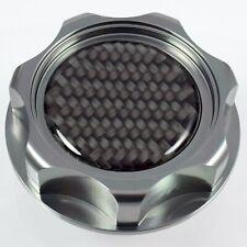 M7 Gunmetal Billet Oil Filler Cap With Carbon Fiber Emblem For Honda Acura