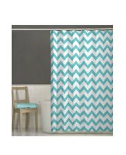Maytex 70 x 72 Turquoise Chevron Fabric Shower Curtain with Liner and Hooks
