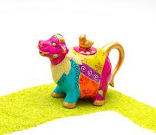 ChaCult Teekanne Porzellan handbemalt mit Goldauflage Kuh Gustl 0,7 Liter