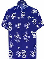"LA LEELA Likre Polyester Camp Party Shirt Royal Blue 356 Small | Chest 38"" - 40"""